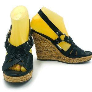 Corso Como 7M Black Leather Open Toe Wedges Shoes